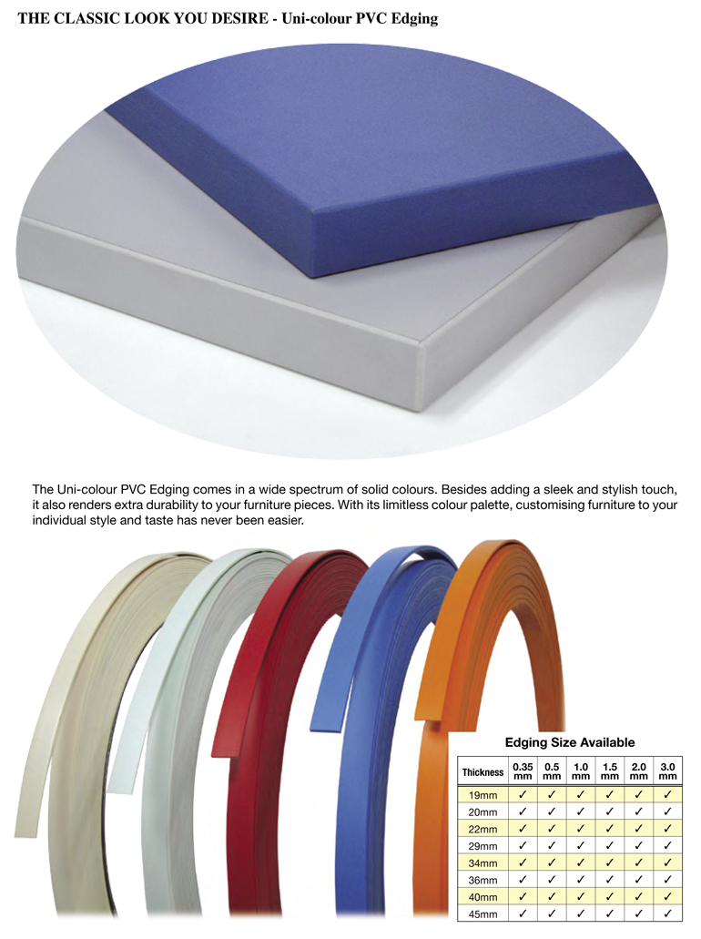 SW382 PVC Edging Solid Colour Manufacturer - Scanwolf com